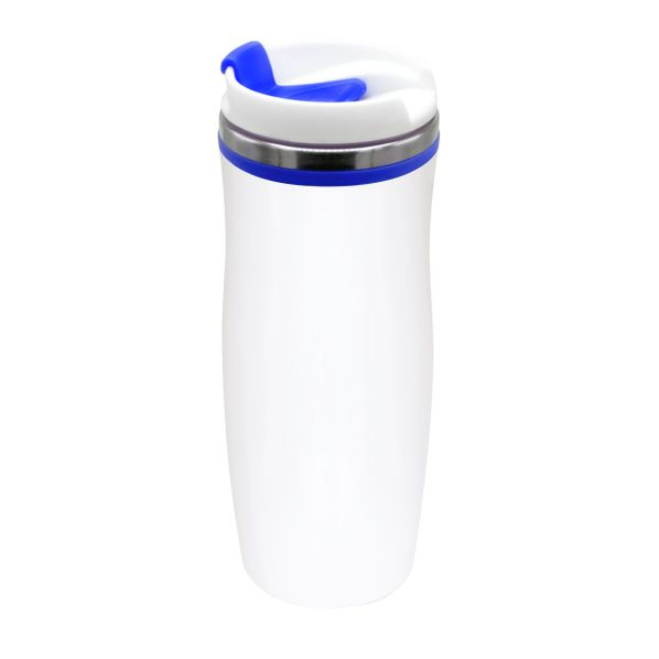 Термокружка Latte, 420 мл, белая / синяя - фото № 1