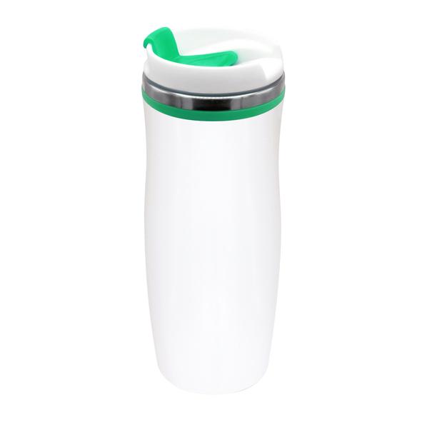 Термокружка Latte, 420 мл, белая / зеленая - фото № 1