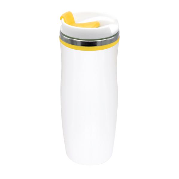 Термокружка Latte, 420 мл, белая / желтая - фото № 1