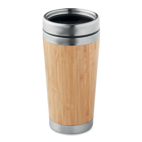 Термокружка с бамбуком, бежевый - фото № 1