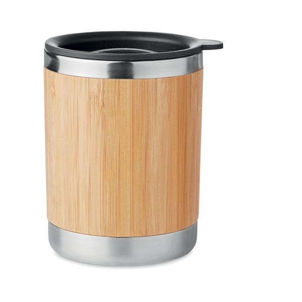 Термостакан с бамбуковым покрытием, светлое дерево - фото № 1