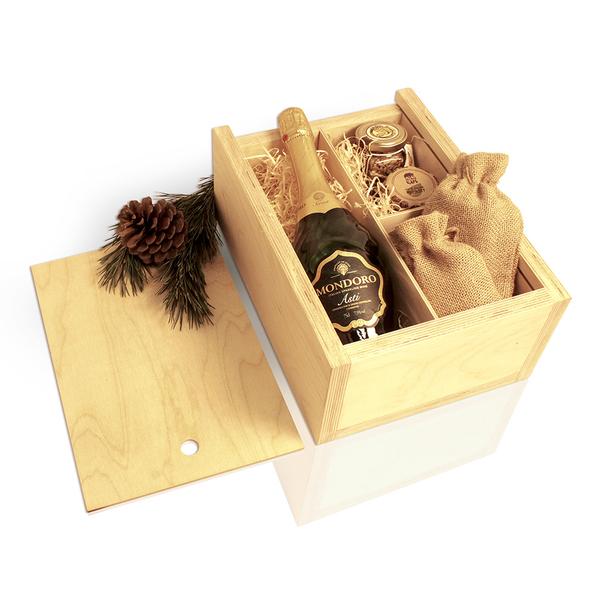 Деревянная упаковка для вина пенал, фанера без лака - фото № 1