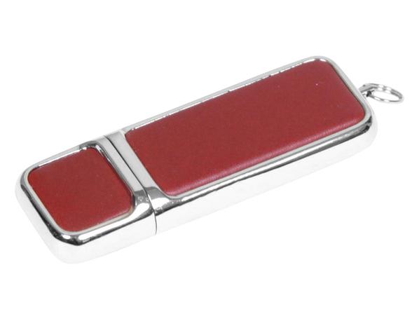 USB-флешка металлическая на 16 Гб, хром/коричневый - фото № 1
