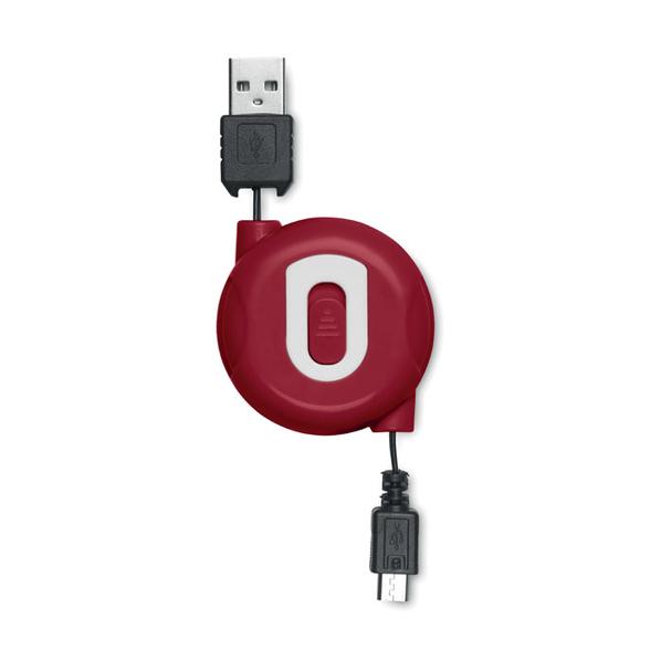Кабель рулетка USB / micro USB, красный - фото № 1
