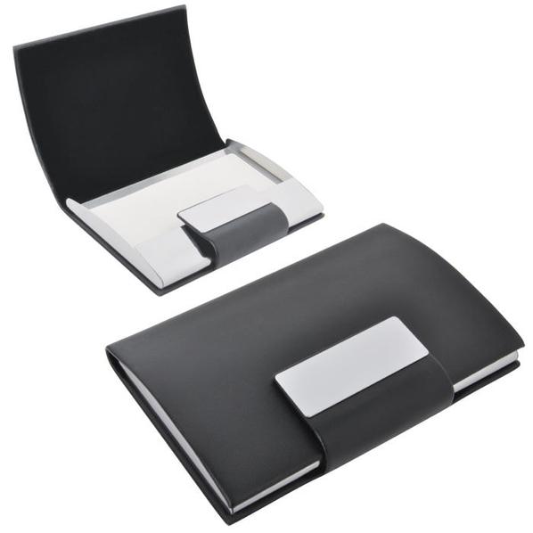Визитница Бонн с магнитной застежкой, черный, серый - фото № 1