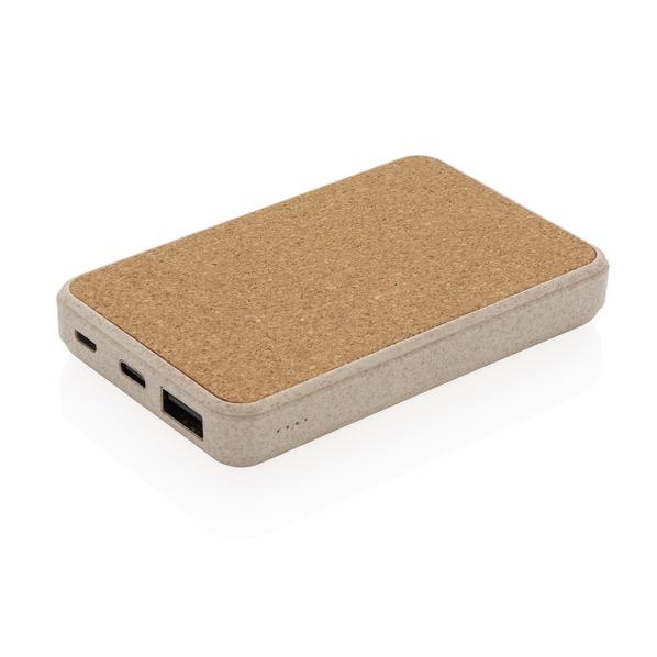 Внешний аккумулятор карманный из пробки и пшеничной соломы XD Collection, 5000 мАч, коричневый - фото № 1