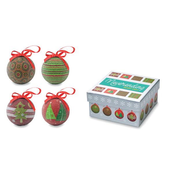 Набор из 4 елочных шаров в коробке Squary, многоцветный - фото № 1