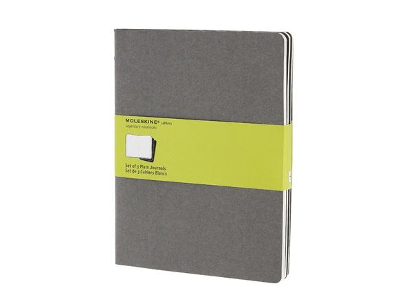 Набор записных книжек нелинованный Moleskine Cahier ХLarge, серый - фото № 1