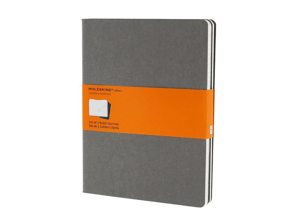 Набор записных книжек в линейку Moleskine Cahier ХLarge, серый - фото № 1