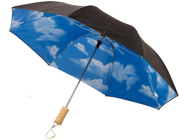 Зонт складной с рисунком двухсторонний полуавтомат Avenue Blue skies, черный / голубой - фото № 1