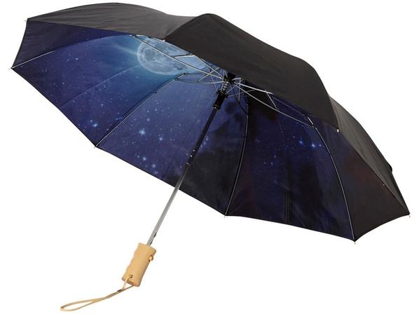 Зонт складной с рисунком двухсторонний полуавтомат Avenue Clear night sky, черный /синий - фото № 1