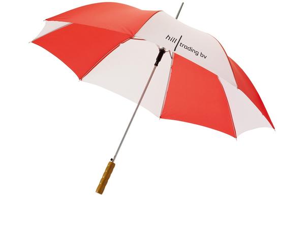 """Зонт трость купол сегментами механический Karl 30"""", прямая деревянная ручка, белый / красный - фото № 1"""