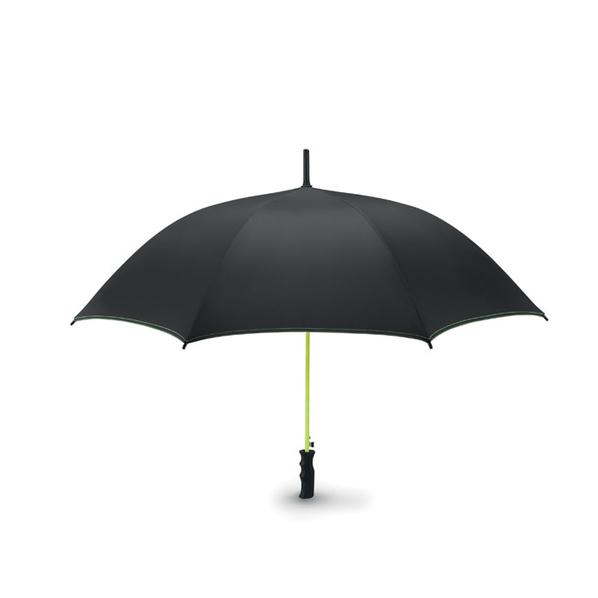 Зонт трость полуавтомат из стекловолокна, черный / салатовый - фото № 1