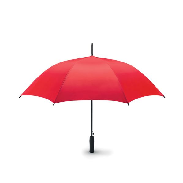 Зонт трость полуавтомат, прямая ручка, красный - фото № 1