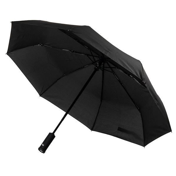 Зонт складной с фонариком полуавтомат Preston, черный - фото № 1