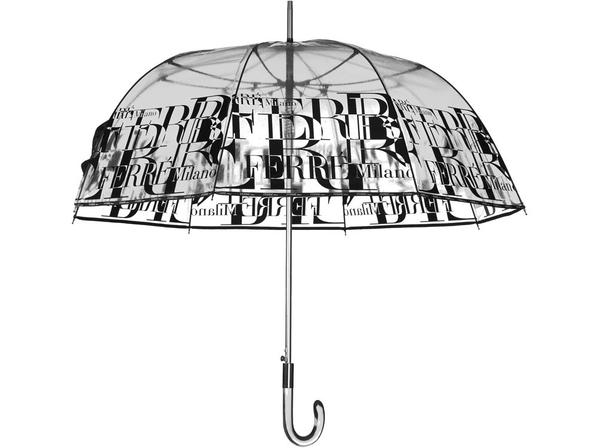 Зонт трость полуавтомат Ferre Milano, черный / прозрачный - фото № 1