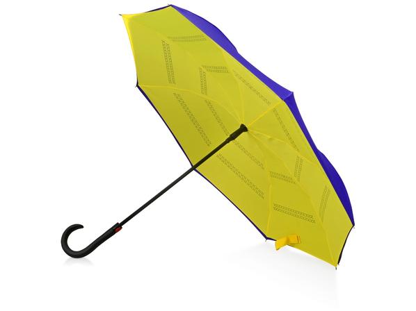 Зонт трость наоборот полуавтомат Inversa, синий / желтый - фото № 1