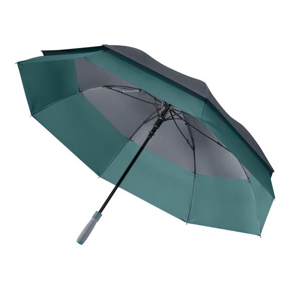 Зонт трость двойной купол полуавтомат Portobello Bora, серый/ морская волна - фото № 1