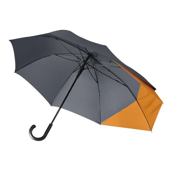 Зонт трость двойной купол полуавтомат Portobello Bora, серый / оранжевый - фото № 1