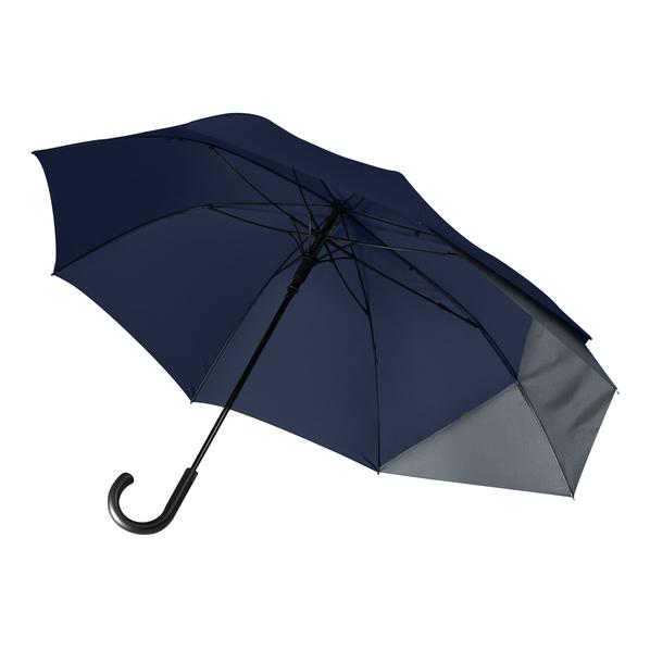 Зонт трость несимметричный полуавтомат Portobello Dune, темно-синий/ темно-серый - фото № 1