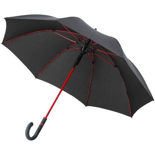 Зонт-трость с цветными спицами Fare Color Style ver.2, черный/ красный - фото № 1