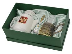 Чайный набор Эгоист: заварочный чайник, стакан, подстаканник, ложка, белый/ золотой, прозрачный фото