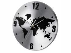 Часы настенные с картой мира, черный/ серый фото