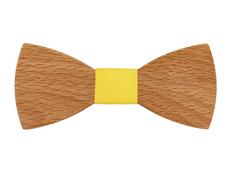Галстук-бабочка из дерева Classic, бук/желтый фото