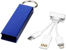 Брелок кабель 3 в 1: micro USB/ Lighting/ Type С, Avenue Capsule, синий фото