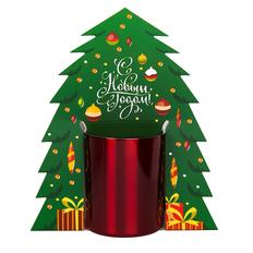 Коробка-украшение для чашкив виде елки ( D=8 см) , зеленый фото