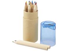 Набор цветных карандашей в тубусе с точилкой, 12 шт, крафт/ синий фото