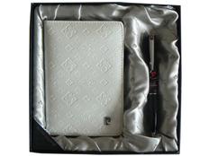 Набор: ручка шариковая, обложка для паспорта, черный/ серый фото