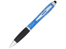 Ручка стилус шариковая пластиковая Nash, крапчатая, черная / синяя фото