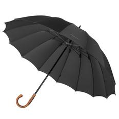 Зонт трость механический Bugatti Big Boss с деревянной ручкой, 16 спиц, черный фото