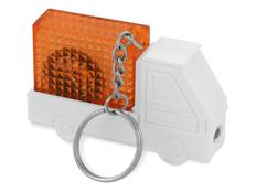 Брелок - рулетка с фонариком в форме авто Автомобиль, оранжевый фото