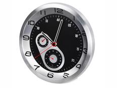 Часы настенные с термометром и гигрометром, черный, серый фото