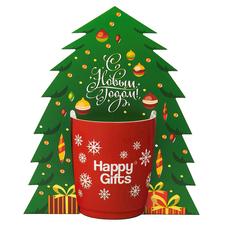Коробка-украшение для чашкив виде елки ( D=9 см) , зеленый фото