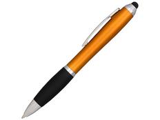 Ручка стилус шариковая пластиковая Nash, оранжевая / черная фото