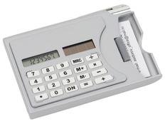 Визитница Бухгалтер с калькулятором и ручкой, серый фото