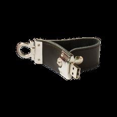 Флешка брелок Промоскин, металлическая с кожаными вставками, коричневая, 4Гб фото