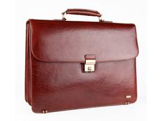 Портфель Diplomat, натуральная кожа, два отделения на молнии, коричневый фото