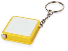 Брелок - рулетка квадратный с вставкой, желтый фото