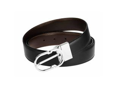 Ремень S.T. Dupont Business Chic, классическая серебряная пряжка, черный, коричневый фото