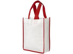 Сумка для шопинга, небольшая, белая с красным фото