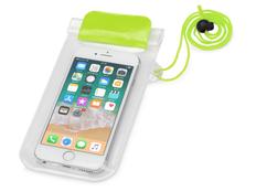 Чехол для телефона водонепроницаемый на шею Mambo, салатовый/ прозрачный фото