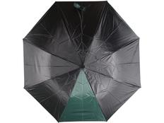 Зонт складной двухцветный автомат Логан, черный / зеленый фото