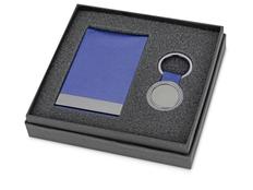 Набор: визитница вертикальная и брелок круглый, синий/серый фото