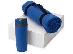 Подарочный набор Cozy с пледом и термокружкой, синий фото