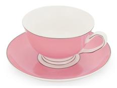 Чайная пара: чашка на 200 мл с блюдцем, розовый фото