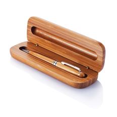 Ручка шариковая деревянная XD Collection Bamboo в пенале, коричневая фото